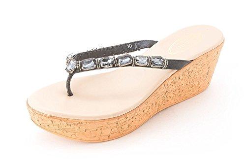 Callisto Womens Riskant Met Juwelen Getooid Platform Sandalen Marine