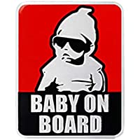Baby on board baby in car reflective aluminium sticker red background 02