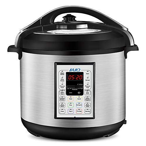 IAIQ Premium 8 Quart Pressure Cooker with 13-in-1 Cook Modes Including Slow Cooker and Manual Electric Pressure Cooker | Stainless Steel