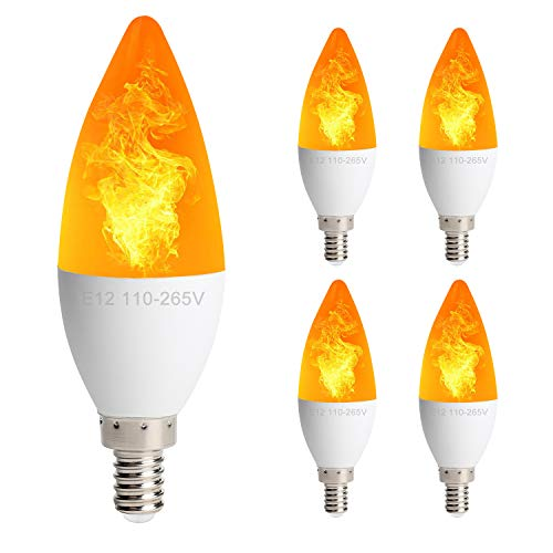 Candelabra Light Three - 4 Pack LED Simulated Fire Flicker Flame Candelabra Light Bulb, E12 Flame Tip 2W 3 Lighting Modes Emulation/General/Breathing, for Indoor Outdoor Decorations Home Hotel Bar Party - Candle Torpedo Shape