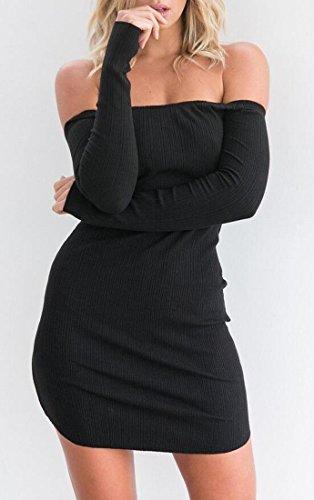 Slim Strapless Bodycon Club Mini Party Women's Domple Black Shoulder Dress Fit Off wpSI1TqI