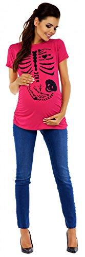 Zeta Ville - T-shirt Camiseta premamá estampado de esqueleto - para mujer - 085c Fucsia