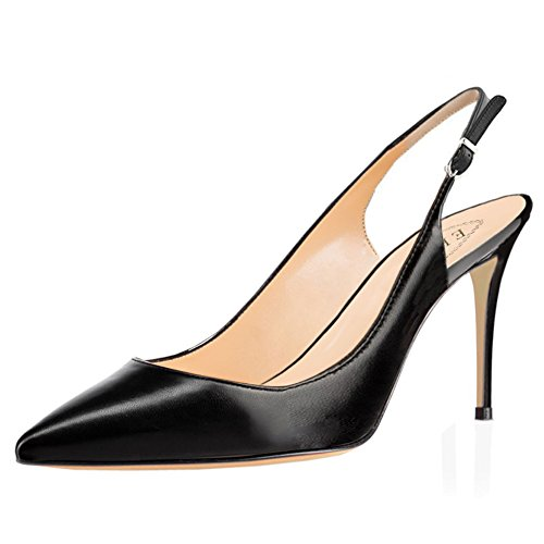 EKS Women's 6CM Pointed Toe Kitten Heel Patent Leather Dress Party Pumps Work Court Shoes 8.5cm Height Slingbacks Matte Black uiOGACrWLb