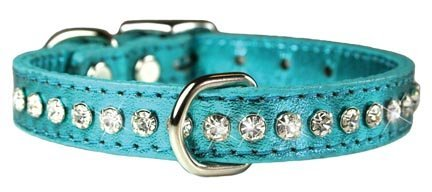 OmniPet Signature Leather Crystal and Leather Dog Collar, 10, Metallic Turquoise by OmniPet