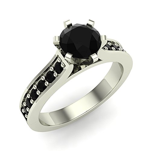 - 3/4 ct tw Black Diamond Engagement Ring 14K White Gold on Sterling (Ring Size 7.5)