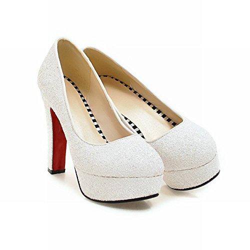 Mee Shoes Damen high heels Pailletten Plateau Pumps Weiß