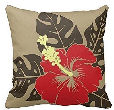 BabysSJ Beach Hawaiian Hibiscus Square Pillow Case Cushion Cover 18 x 18 Inches - Bedding Print Hawaiian