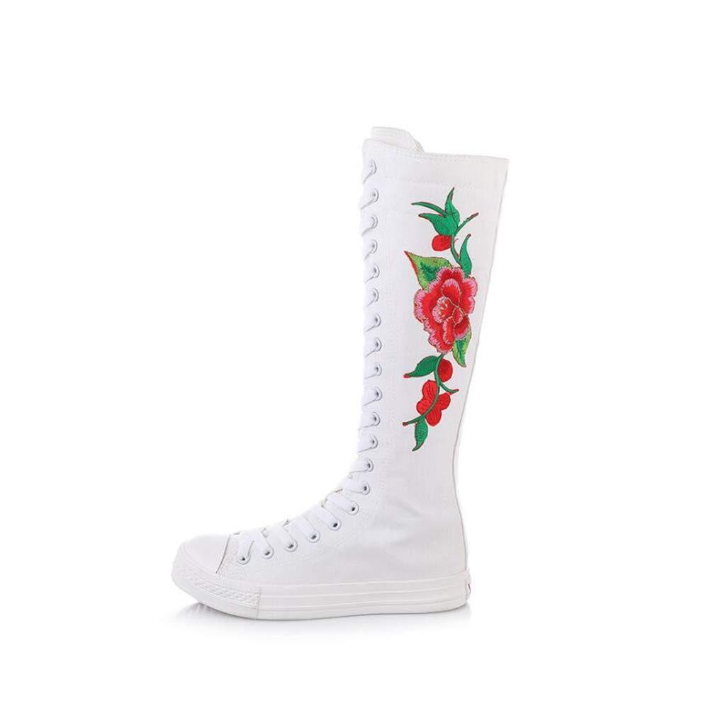 mogeek Femme Haut Bottes B01E6YDZ52 de Bottes Toile Confortable Chaussures à Lacets Lacets brodées Blanc Rouge 08a0aa4 - automaticcouplings.space