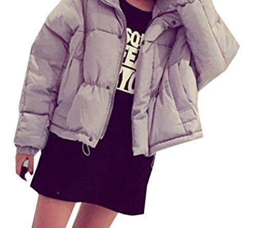 EKU Women's Solid Short Thicken Slim Fashion Outwear Down Jacket M Grey