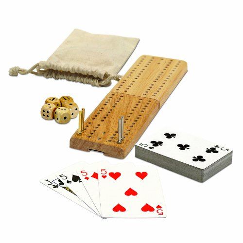 WE Games Cribbage and More Travel Game Pack (Folding Cribbage Board)