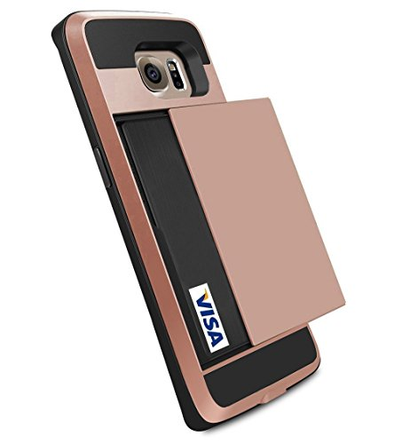 Galaxy S6 Edge Plus Case, Anuck Slidable ID Card Slot Holder Galaxy S6 Edge Plus Wallet Case [Card Pocket] Shockproof Rubber Bumper Protective Case Cover for Samsung Galaxy S6 Edge Plus - Rose Gold