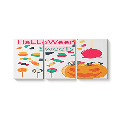 3 Piece Canvas Wall Art Oil Painting Home Art Decor,Trick or Threat Cartoon Sweets Pumpkin Happy Halloween Pictures Artworks for Office,Stretched by Wooden Frame,Ready to Hang,28x32inx3 Panels]()