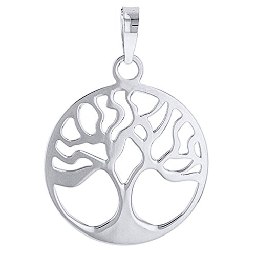 Solid 14k White Gold Simple Round Tree of Life Charm Pendant