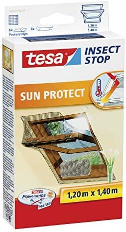 tesa Insect Stop SUN PROTECT Fliegengitter für Dachfenster - Insektenschutz mit Blend- & Sonnenschutz für Dach-Fenster - Fliegen Netz 120 cm x 140 cm (5er Pack)
