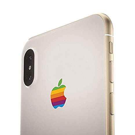 Retro Rainbow Apple iPhone X Decal Sticker for the iPhone X, iPhone 8 Plus