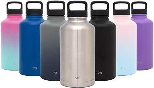 (Simple Modern 40 oz Summit Water Bottle - Stainless Steel Liter Flask +2 Lids - Wide Mouth Tumbler Double Wall Vacuum Insulated Silver Leakproof -Simple)