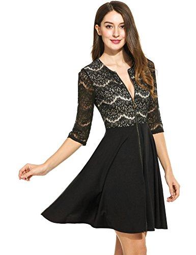 Line Dress Party Beyove A Front Lace Cocktail Black Zipper Dress Flare Women's Patchwork gwxABqE