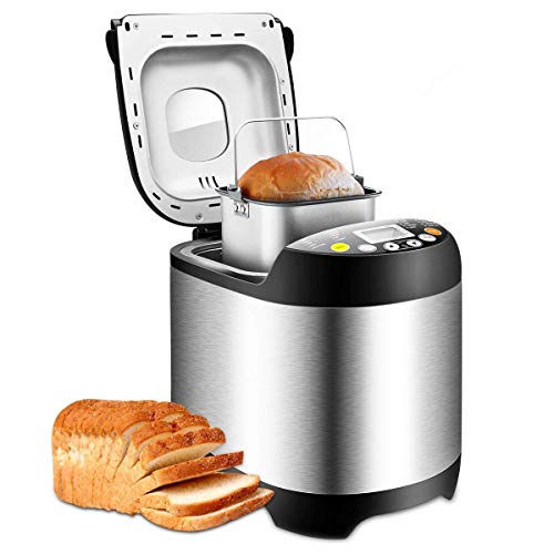 Bread Maker19 Automatic Programs Bread Machine, Programmable Breadmaker Machine with 3 Crust Color, 15 Hours Delay Time and LCD Display- Stainless Steel, 1LB/1.5LB/2LB