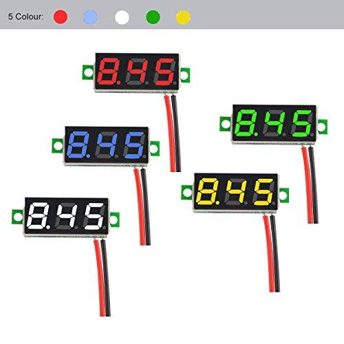 MakerFocus 5pcs Mini Digital DC Voltmeter 0.28 Inch Two-Wire 2.5V-30V Mini Digital DC Voltmeter Voltage Tester Meter 5 Colours by MakerFocus (Image #3)