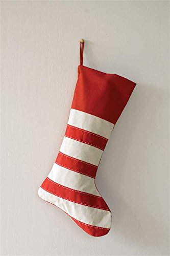 Festive Striped Red & White Cotton Christmas Stocking by Creative Co-op