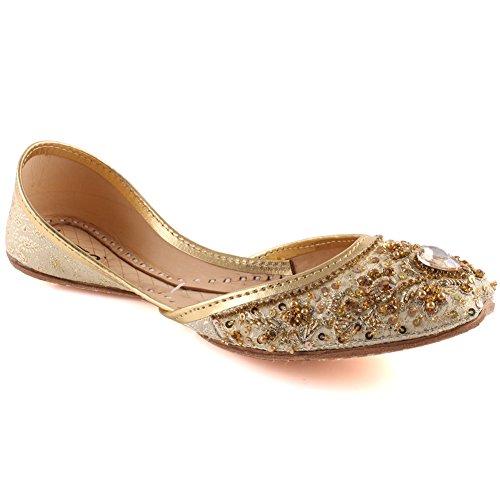 Donne Appartamenti Bey a Pera Le Unze Ragazze Sari Wedding Nuziale 3 Oro Dimensioni Perle 8 Indiani Bordato UK Khussa Pietra E0w5x8pqx