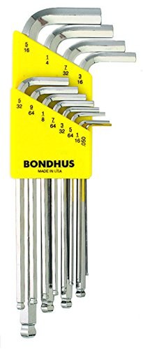 Bondhus 16936 Set of 12 Balldriver« L-wrenches with BriteGuard? Finish, Long Length, sizes .050-5/16-Inch
