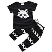 ZHUANNIAN Baby Boys Clothes 2PCS Outfit Set T-Shirt Tops with Patterned Pants(Black,6-12 Months)