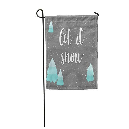 Semtomn Garden Flag 12x18 Inches Print On Two Side Polyester Let It Snow Winter Time Letters and Doodle Spruce Grey Book Placard Album Home Yard Farm Fade Resistant Outdoor House Decor Flag ()