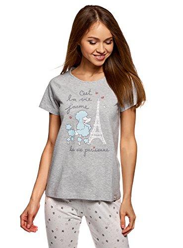 (oodji Ultra Women's Printed Cotton Lounge T-Shirt, Grey, US 4 / EU 38 /)