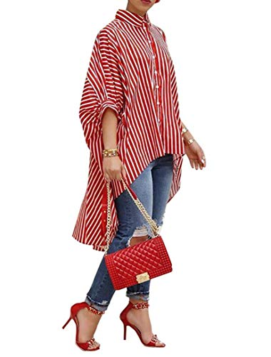 (Teetyesy Women's Striped Batwing Sleeve Button Down High Low Hem Casual Loose Blouse Shirt Tops (S, Red))