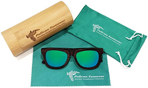 Wooden Polarized Sunglasses - Handmade Solid Real Dumu Wood Wayfarer Style w/Bamboo Case - 100% UV Protection - for Men and Women by Pelican Sunwear (brown, green) by Pelican Sunwear (Image #2)