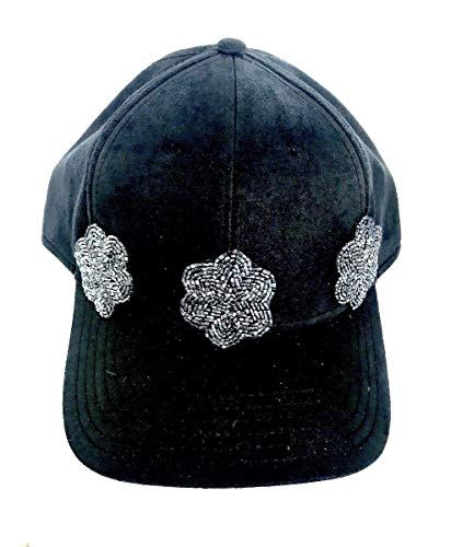 (Black Suede Hat Rhinestone Beaded Flower Bling Baseball Cap)