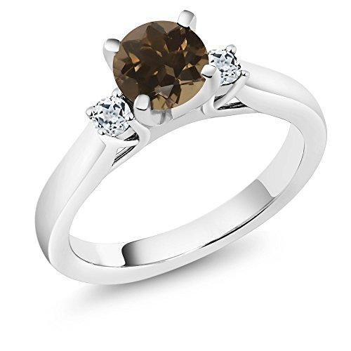 (Gem Stone King 1.08 Ct Round Brown Smoky Quartz White Topaz 925 Sterling Silver 3-Stone Ring (Size 5))