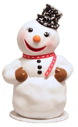 Pinnacle Peak Trading Company Ino Schaller Glitter Snowman with Top Hat German Paper Mache Candy Container