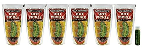 Van Holten's Jumbo 5 oz. Hot Pickles - Pack of 6 with a Jarosa Bee Organic Peppermint Lip Balm ()