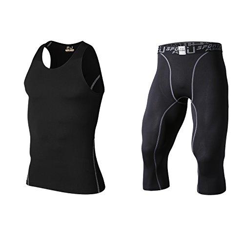 主観的に沿って限られたsillictor コンプレッション ウェア 上下 セット メンズ 半袖/長袖 シャツ + ハーフ/七分丈/ロング パンツ [加圧矯正 + 吸汗速乾]