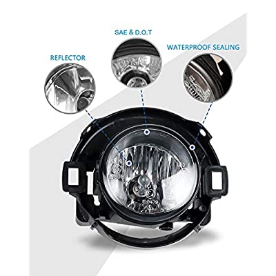 Fog Lights for 2010-2020 Nissan Frontier/ 2005-2015 Nissan Xterra (both Only fit for plastic bumper) with Bulbs H11 12V 55W AUTOFREE Fog Lamps assembly Included Wiring Kit & Switch-1 Pair (Clear Lens): Automotive