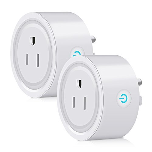 WiFi Smart Plug 2 Pack caloics Mini Wireless Plug Outlet Remote Voice Control Intelligent Socket with Timing Function Home Smart Switch Plug Compatible with Alexa from Anywhere Anytime (2-Pack)