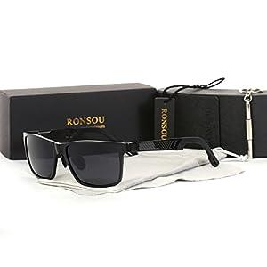 Ronsou Men UV400 Retro Aluminium-Magnesium Polarized Sunglasses For Driving Fishing Golf Outdoor black frame/gray lens