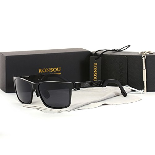 Ronsou Men UV400 Retro Aluminium-Magnesium Polarized Sunglasses For Driving Fishing Golf Outdoor black frame/gray - Sunglasses For With Men Big Heads