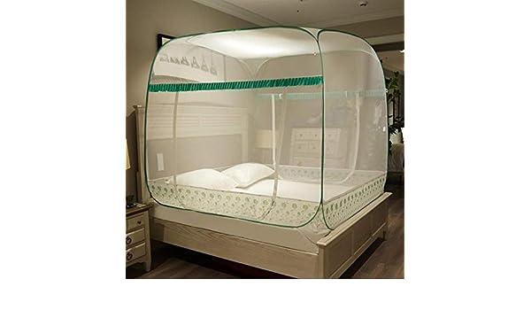 Cama de 1.8 * 2 m YousimanZ La instalaci/ón Libre de Insectos de Bloque Proporciona una mosquitera Cuadrada en Forma de U con Tres Puertas Abiertas mosquitero Flor Verde de la Vid