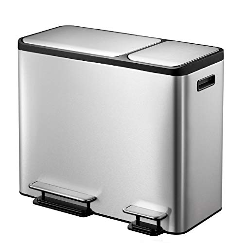(EKO Dual Compartment Stainless Steel Recycle Step Trash Can 30L + 15L)