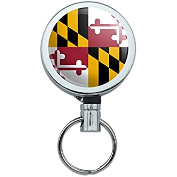 Amazon.com : Maryland State Flag Lanyard Retractable Reel Badge ID Card Holder : Office Products
