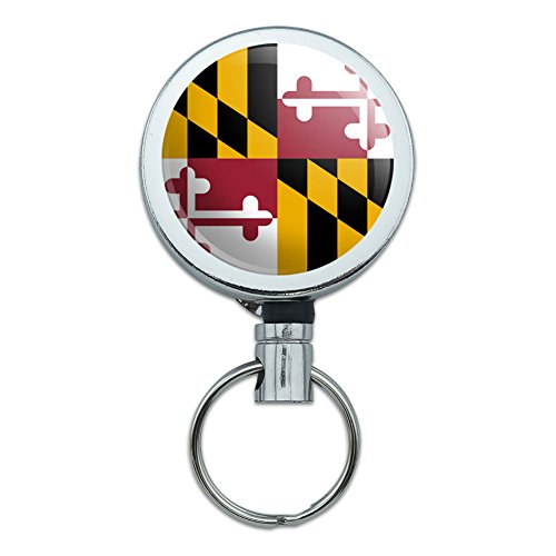 all-metal-retractable-reel-id-badge-key-card-holder-with-belt-clip-state-flag-maryland-state-flag