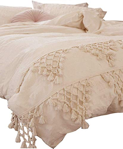 Flber Tufted Tassel Duvet Cover Lattice Boho Bedding,Full Queen, 86inx90in