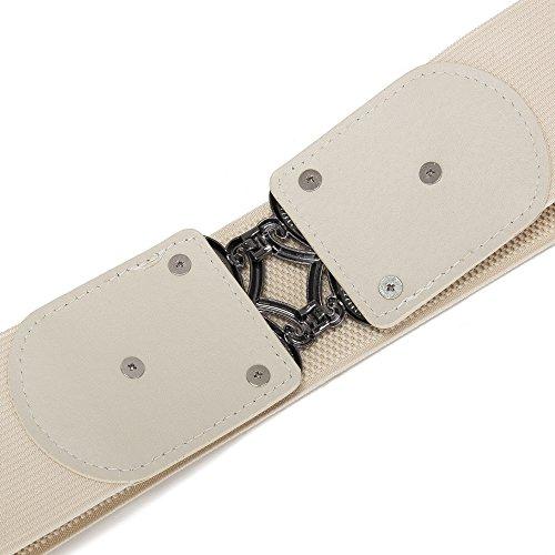 Viishow Retro Wide Metal Interlock Buckle Womens Elastic Waist Belt Cinch
