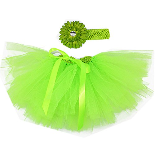 Girls Green Organza Tutu (Ikerenwedding Baby Girl's Tutu Skirt 0 to 18 Months Headband Set for Photography)