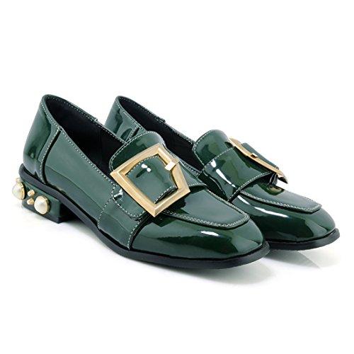 Bout Talon en Confortable Vert Boucle Carre Vernis Mode avec Chaussures Femmes a Plates Moyen UH de wEfgXqR7