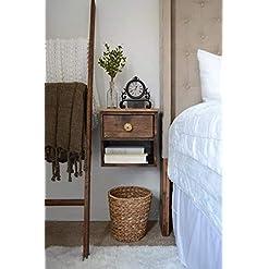 Bedroom Floating Nightstand – Dark Walnut Bedside Table – Wooden Nightstand farmhouse nightstands