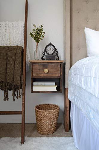 Floating Nightstand - Dark Walnut Bedside Table - Wooden Nightstand